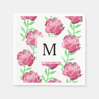 Serviette Jetable Roses d'aquarelle de pays épousant des serviettes
