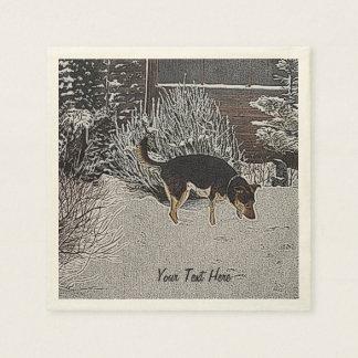 Serviette Jetable Scène de neige d'hiver avec le chien noir et