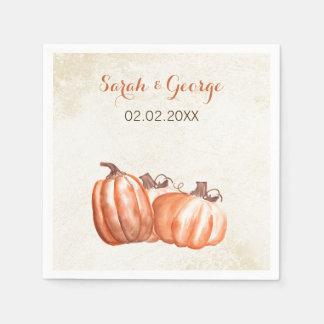 Serviette Jetable serviette de mariage de automne de citrouilles