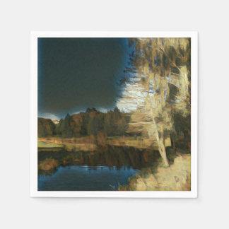 Serviette Jetable Serviette de papier d'automne de paysage stylisé