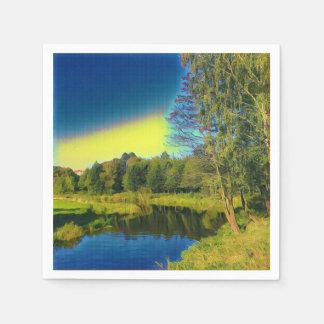Serviette Jetable Serviette de papier de paysage jaune stylisé de