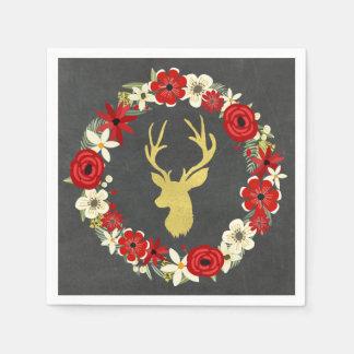 Serviette Jetable Serviette florale de Noël de guirlande de cerfs