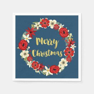 Serviette Jetable Serviette florale rouge de Noël de guirlande d'or