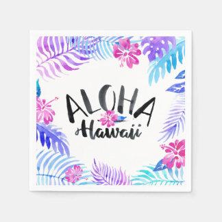Serviette Jetable Serviette tropicale d'Hawaï | d'aquarelle Aloha