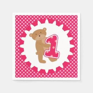 Serviette Jetable Serviettes de papier de ęr anniversaire d'ours de