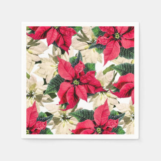 Serviette Jetable Serviettes de papier de poinsettia rouge et