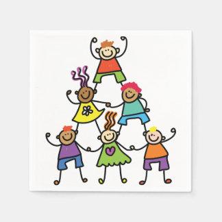 Serviette Jetable Serviettes de papier de pyramide d'enfant