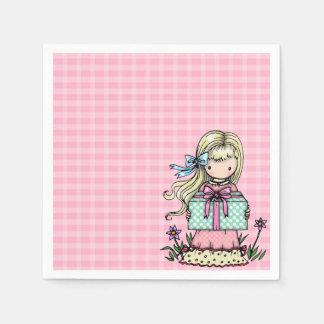 Serviette Jetable Serviettes de plaid de rose de fête d'anniversaire