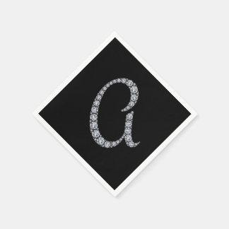 Serviette Jetable Serviettes d'un cocktail de monogramme de Bling