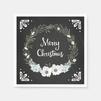 Serviette Jetable Serviettes florales de Noël de guirlande de