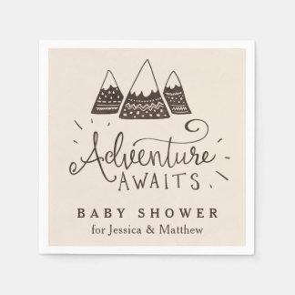 Serviette Jetable Serviettes orientées de baby shower d'aventure