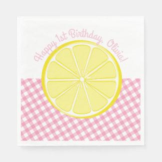 Serviette Jetable Serviettes roses de partie de limonade