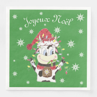 Serviette Jetable Snowbell la vache et le Noël allume les serviettes