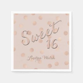 Serviette Jetable Sweet sixteen des confettis   d'or de rose de rose