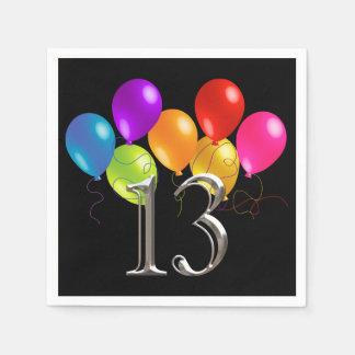 Serviette Jetable Tous ballons colorés 13 d'anniversaire de couleur