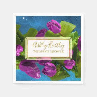 Serviette Jetable Tulipes pourpres de l'espace et étiquette
