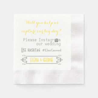 Serviette Jetable Typographie moderne avec le mariage de hashtag
