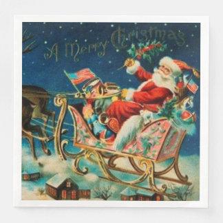 Serviette Jetable Vacances vintages de Noël du père noël Sleigh