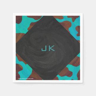 Serviette Jetable Vache Brown à monogramme et copie turquoise