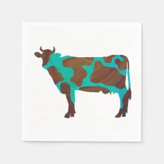 Serviette Jetable Vache Brown et silhouette turquoise