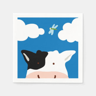 Serviette Jetable Vache et libellule