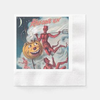 Serviette vintage de diable de Halloween Serviette En Papier