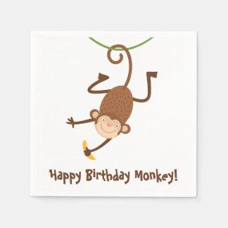 Serviettes d'anniversaire de singe serviettes jetables