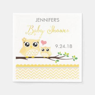 Serviettes de baby shower de hibou | Chevron jaune Serviettes Jetables