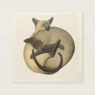 Serviettes de chats siamois de Yin Yang Serviette Jetable