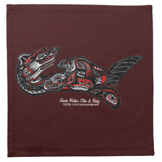 Serviettes de cocktail d'art de Haida de loutre et