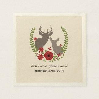 Serviettes de mariage de cerfs communs de Noël Serviettes En Papier