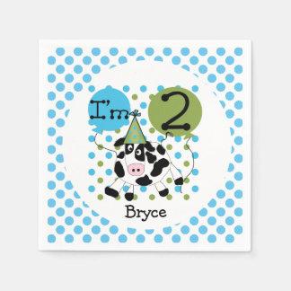 Serviettes de papier anniversaire bleu de vache à serviette en papier