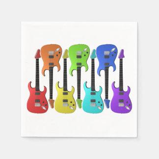 Serviettes de papier colorées de guitares serviettes en papier