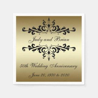 Serviettes de papier d'anniversaire de mariage de serviette jetable