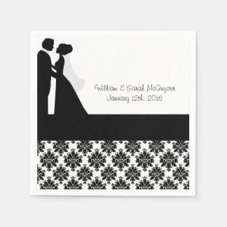 Serviettes de papier de jeunes mariés noirs de serviettes jetables