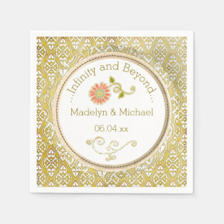 Serviettes de papier de mariage damassé d'or fait serviette en papier