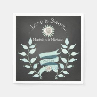 Serviettes de papier de mariage floral bleu de serviette en papier