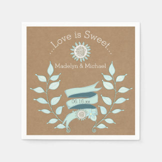 Serviettes de papier de mariage floral bleu de serviette jetable