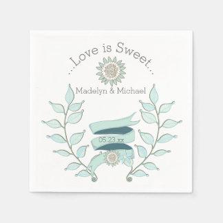 Serviettes de papier de mariage floral bleu serviette en papier