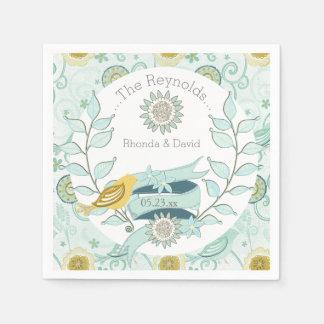 Serviettes de papier de mariage floral bleu serviettes jetables