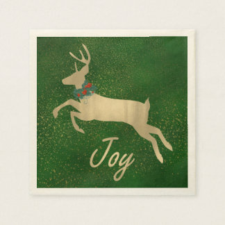 Serviettes de papier de Noël d'or de cerfs communs Serviettes En Papier