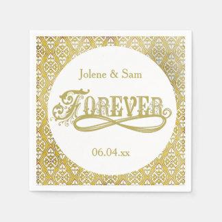 Serviettes de papier pour toujours d'or de mariage serviettes en papier