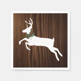Serviettes de papier rustiques de Noël en bois et Serviettes Jetables