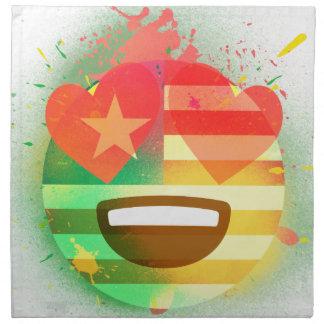 Serviettes De Table Aimez l'art de peinture de jet d'Emoji de drapeau
