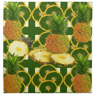 SERVIETTES DE TABLE ANANAS GÉOMÉTRIQUE DÉCORATIF DE GREEN-YELLOW