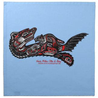 Serviettes De Table Art de Haida de loutre et de bébé de mère dinant