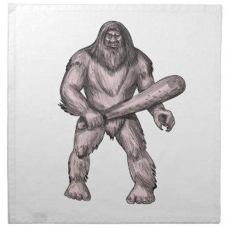 Serviettes De Table Bigfoot tenant le tatouage de position de club