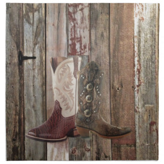 Serviettes De Table Botte de cowboy occidentale de pays en bois