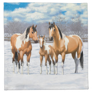 Serviettes De Table Chevaux de peinture de peau de daim dans la neige