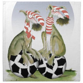 Serviettes De Table chiens du football de rouges quand samedi vient